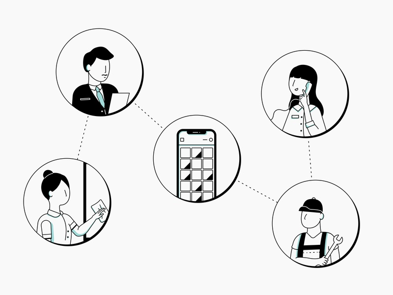Stay Accountable! minimal characters hotel app graphic design black and white iconography website graphics vector illustration