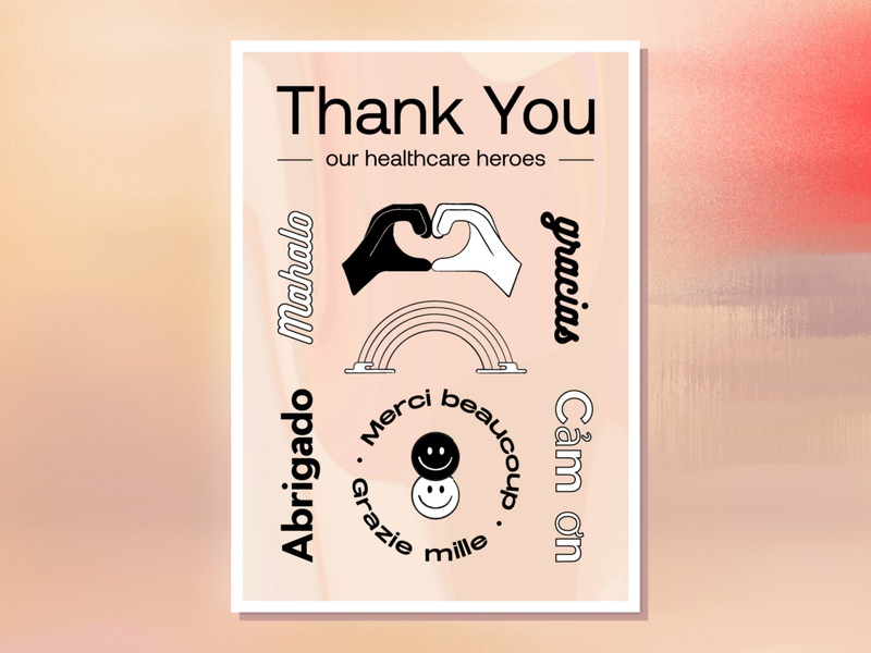 Thank You to Our Healthcare Heroes type design languages design typography safety healthcare minimal vector art postcard thank you layout illustration