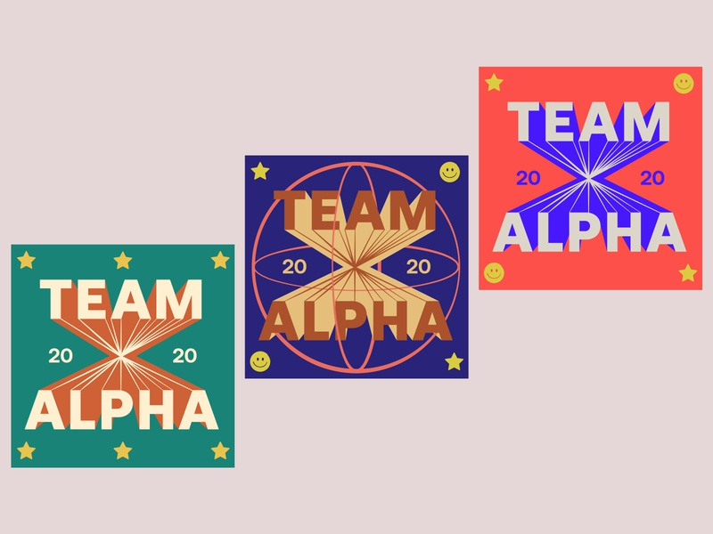 Team Alpha Stickers 2020 vector team colorful lettering illustration stickers