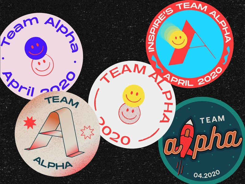 Team Alpha Stickers Part II stickers graphic design launch spaceship illustration vector typeface typography pangrampangram type smiley emoji