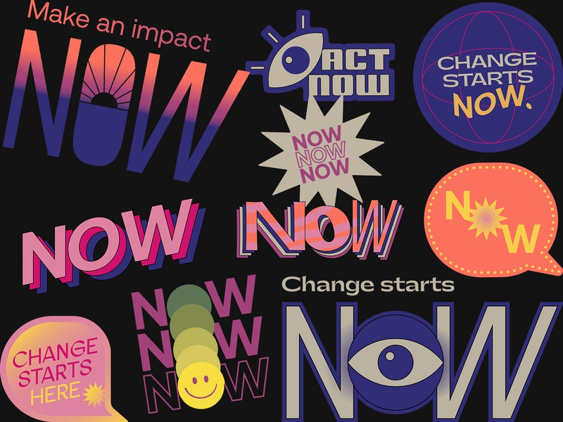 Impact NOW Sticker Set stickers vector illustration sticker pack typography flat texture retro quarantine colorful badge impact eye social good