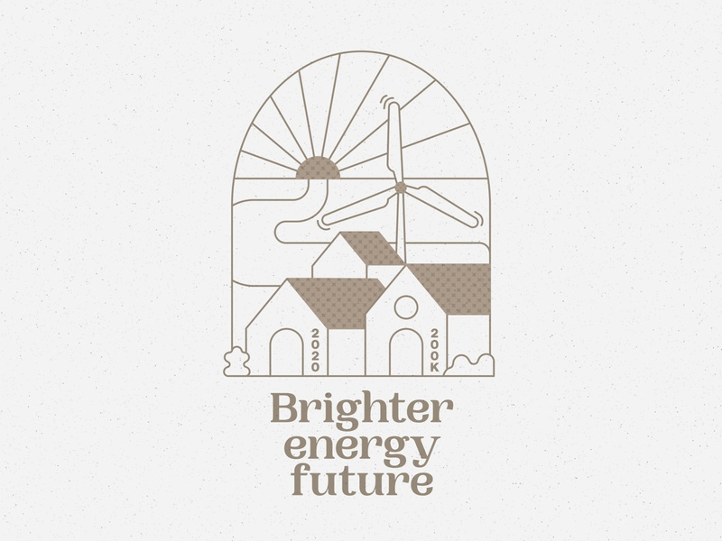 Brighter Energy Future Tee & Totebag typography halftone texture tee wind turbine clothing graphic illustration tshirt vector houses sunset water tote totebag clean energy