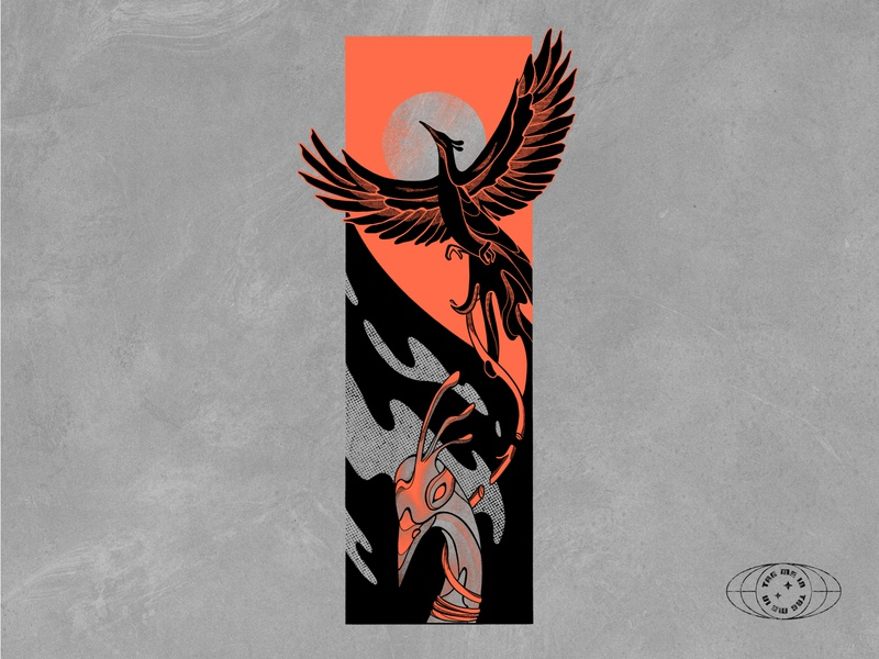 Breaking Free illustrator procreate freedom flying logomark digital art yin yang bird phoenix illustration art
