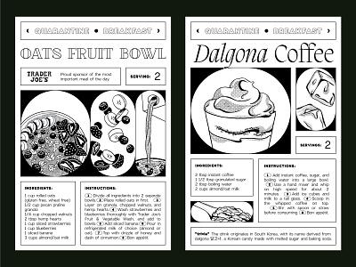 Quarantine Breakfast Recipe Posters vector type texture recipe quarantine print poster oatmeal layout illustration graphic design fruits editorial design coffee breakfast