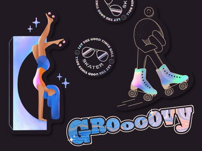 Rollerskating Stickers character sunglasses roller badge rollerskating holographic retro vector type stickerpack design sticker set sticker lettering stickers illustrations