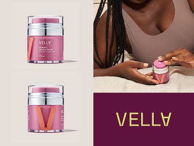 Vella Women's Pleasure Serum Packaging packaging design logomark brand identity logo packaging branding print label packaging serum natural label design