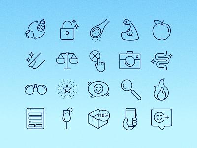 Fun & Bubbly Icon Set branding benefits clean subscription website design ui vector icons icon set iconography icon system symbols icon design