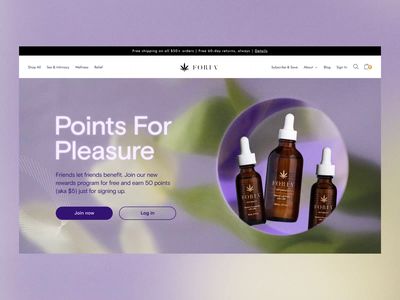 Foria Rewards Program Landing Page cbd ecommerce icons floral grid web layout graphic design identity branding rewards ux site landing page website ui