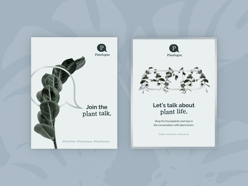 Plantlogue Posters gradient clean typography minimal poster plants logo vector composition layout design