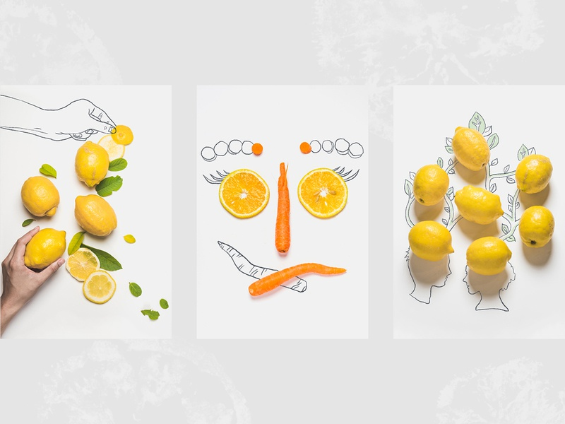Apeel Juice Photography Style art direction brand identity branding layout composition illustration yellow carrot graphic design design poster photography