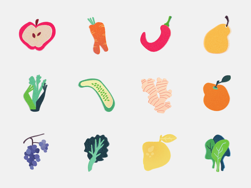 Misshaped Fruit & Veggie Icons silly quirky food illustrator vector design veggies fruit color illustration iconography icons