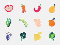 Misshaped Fruit & Veggie Icons