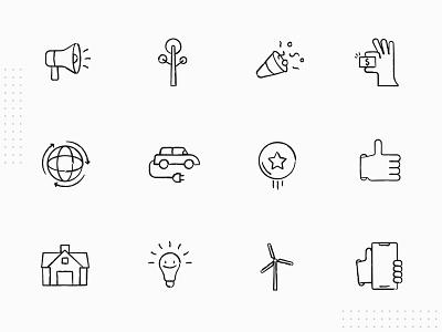 Icon Set environmental green sustainable clean design minimalism set mark identity illustration graphics design vector branding icon set iconography icons