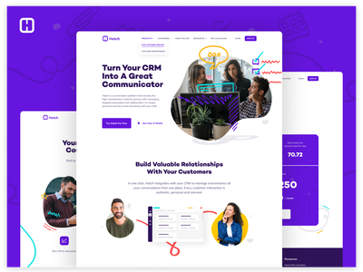 Hatch App Website branding illustration graphic handdrawn product crm website ux design ui design ux ui