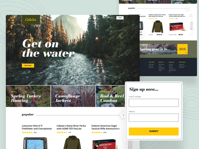 Cabela's Redesign fishing branding ux design ui design nature outdoors hunting web design interface website design ux ui