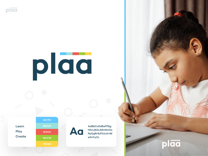 plaa - branding brand design fun kids children learning app learn create logo play playful identity branding