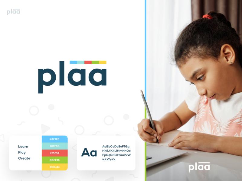 plaa - branding brand design fun kids children learning app learn create logo play playful identity branding