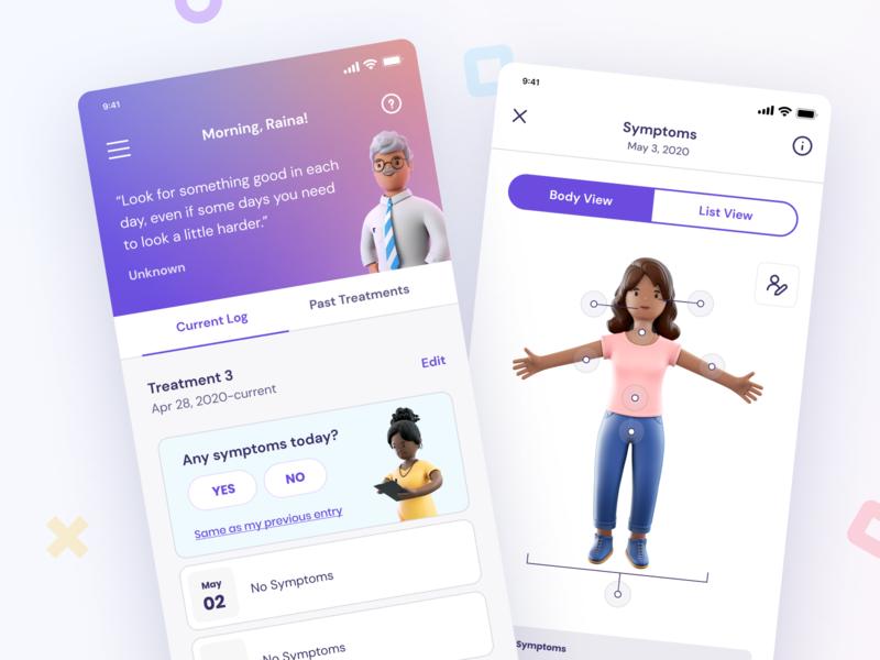 Keycare™ App application healthcare symptoms treatment people character 3d ui design ui interface medical app medical health app health app design app