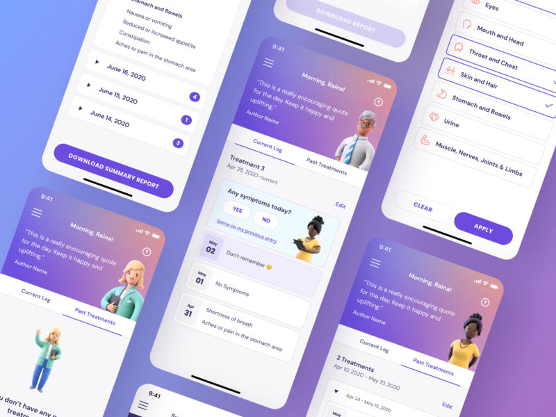 Keycare™ App Screens interface illustration companion track tracking symptoms ux ui ux design ui design medical app health app health characters medical app design app
