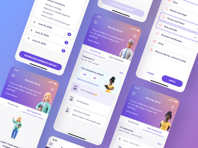 Keycare™ App Screens interface illustration companion track tracking symptoms ux ui ux design ui design medical app health app health characters medical app design app