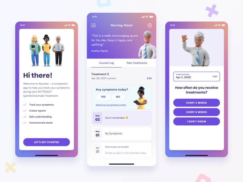 Keycare™ clean simple modern people friendly charcters interface care care team healthcare health medical app design app ux ui