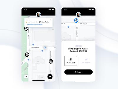 Twitter Prompt - City Cleanup App app design notification black and white delete drawer interface ux design ui design ux ui product app