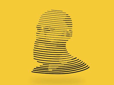 Line Illustration - Eddie headshot illo linear face strokes lines illustration