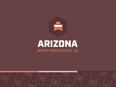 Arizona Scrap Iron & Metal Co orange maroon iron arizona rust metal brand colors identity logo branding