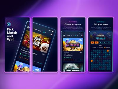 Boxiz App Store Screens product design dark ui dark mode screen design screens preview grid boxes box android ios game interface uiux product app store app design app ux ui