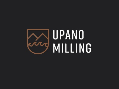 Upano Milling - logo clean modern lines woodworking logo