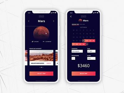 SPACED Challenge - App travel app travel mars ui app space spacedchallenge