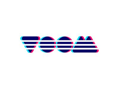 Voom Logo blue red brand logotype simple clean edgy overlap 3d branding logo voom future modern