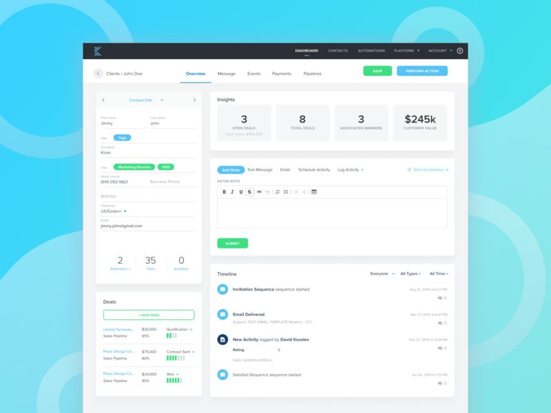 Kizen App - Client/Contact Page client deals contact data site web design app product website ux design ui design ux ui