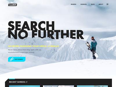 Camber - Website Design ui practice web web design site snowboard snowboarding snow hero website ux ui