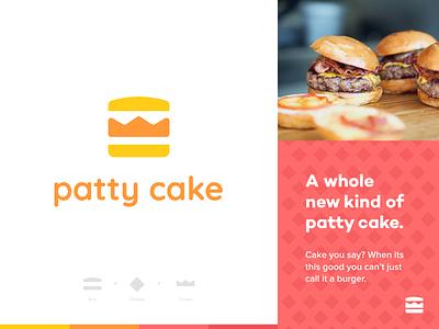 Patty Cake Burgers illustration identity icon brand colors patty cake burger branding logo