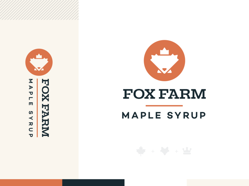 Fox Farm Maple Syrup fox logo seal crown king mark logo brand branding waffles pancakes leaf maple leaf maple syrup farm fox