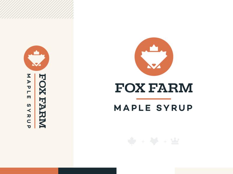 Fox Farm Maple Syrup fox logo seal crown king mark logo brand branding waffles pancakes leaf maple leaf maple syrup farm fox