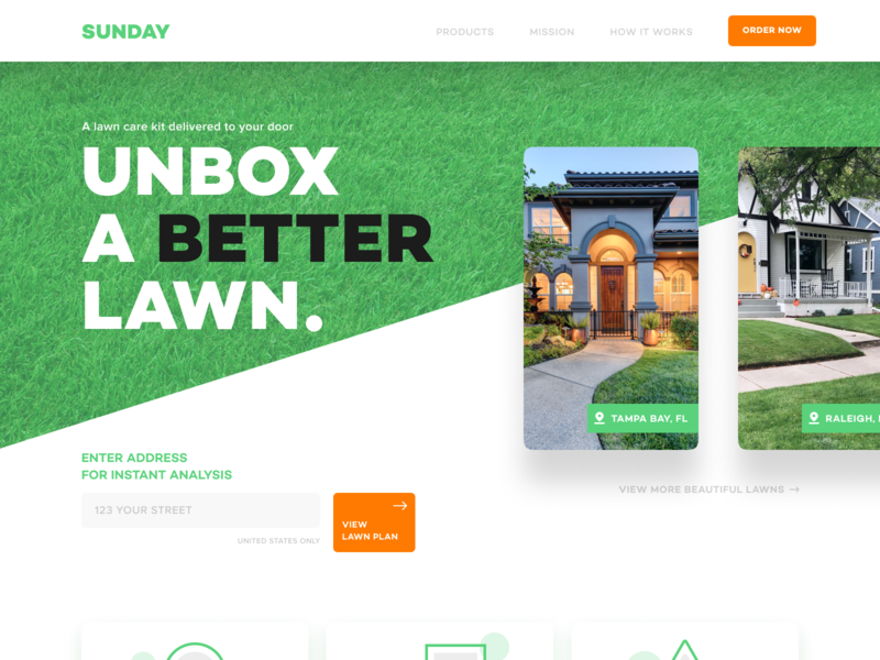 Sunday Lawn ui design cta sunday grass green site website cards landing page ux ui web lawn