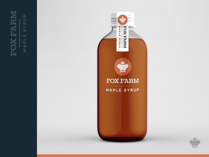 Fox Farm Maple Syrup - Mockup fox logo product mock bottle leaf maple leaf breakfast maple farm fox farm fox identity brand branding syrup mockup
