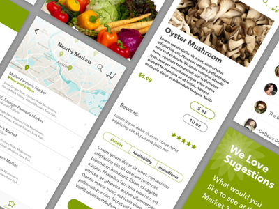Farmers Market Purchasing Experience Product View product view shopping sketch mobile ecommerce ui food
