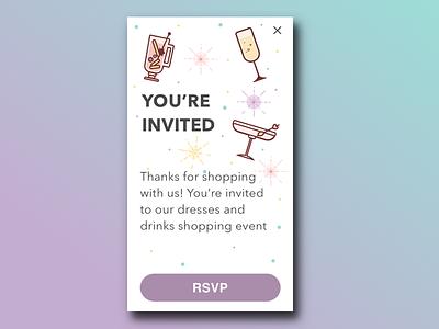 Event Invitation RSVP rsvp ecommerce shopping girly event drinks food party illustration sketch ui invitation