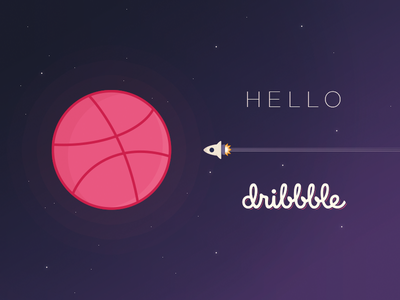 Hello Dribbble spaceship planet shot debut first dribbble hello
