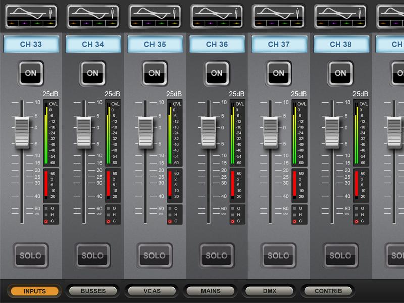 Soundcraft ViSi Main Screen music fader sound mixer ios app audio