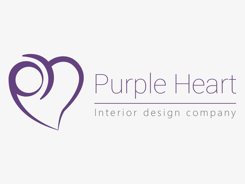 Purple Heart purple interior design logo