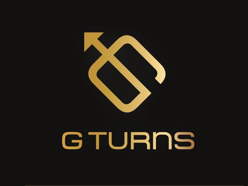 GTurns logo bow and arrow logo g gold