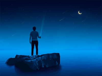 Lonely person sea illustration moonlight night lonely