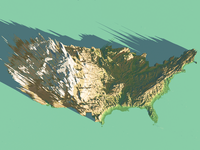 Top View USA 3d Map