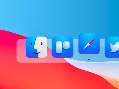 MacOS BigSur - Iconset apple safari trello sketchapp designer finder iconset macos web app icon ux branding ui logo design vector levi ortiz