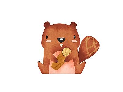 Beaver Character cute animal cartoon design kids children book illustration mexico levi ortiz character beaver