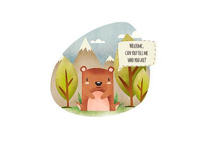 Welcome! print book children vignete design web design character cartoon bear story illustration mexico levi ortiz welcome